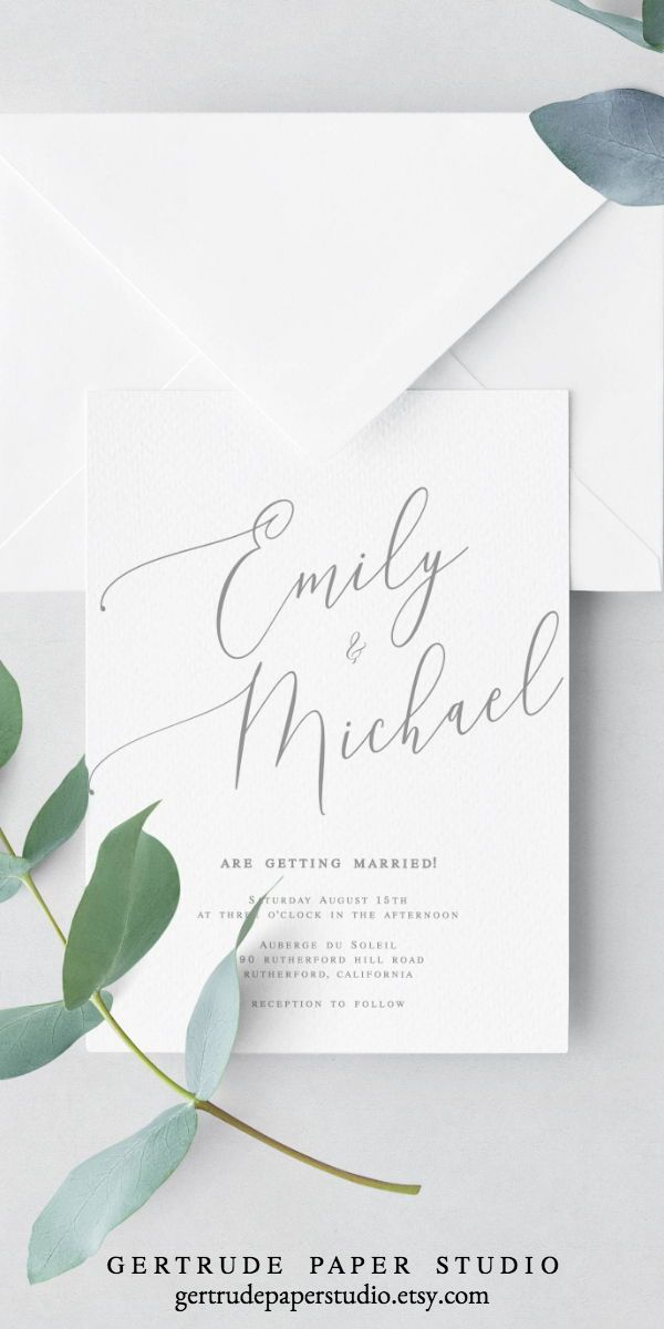 Minimalist Calligraphy Wedding Invitation Instant Download