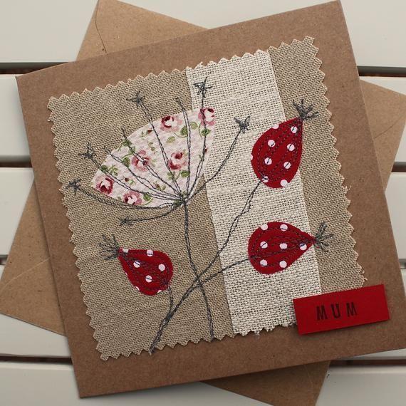 Muttertagskarte, handgemacht, Stoff, Blumenkarte, rustikale Karte, rote Blumen, Muttertagskarte von Tochter, Muttertag