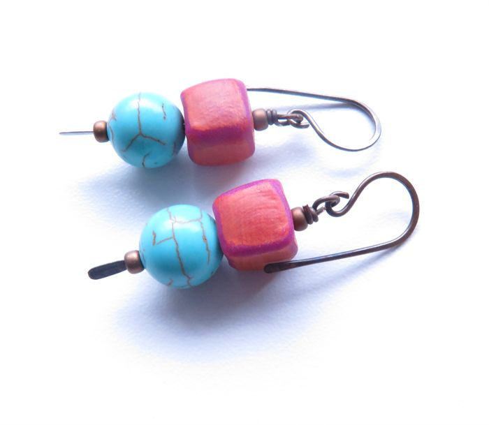 Skewer Mix turquoise blue and pink earrings by Sasha Max Studio