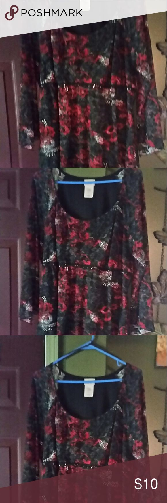 Women's plus clothing Black and red short sleeve top lacy fabric toe in back Fashion Bug Tops Blouses