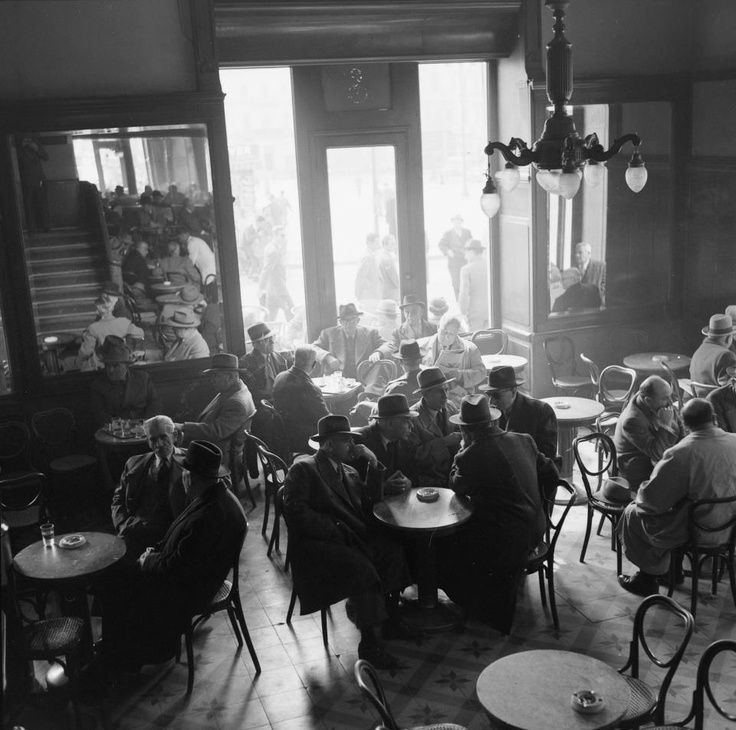 Athenian coffee-house during the 1956 parliamentary election.  Photographic Agency D. A. HARISSIADIS   Dimitris A. Harissiadis (1911-1993)  Benaki Museum Photographic Archives