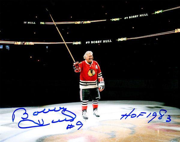 Bobby Hull Signed Blackhawks On Center Ice 8x10 Photo w/HOF 1983