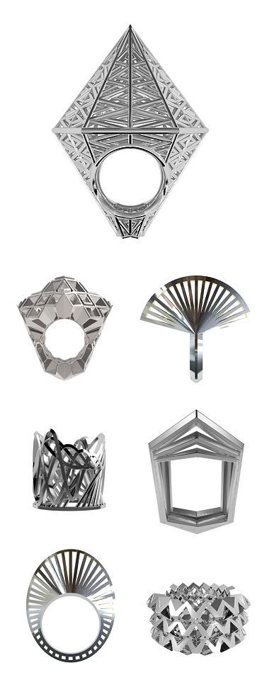 Germany's VOJD Studios, who 3D-prints, then casts in silver, to create these rings