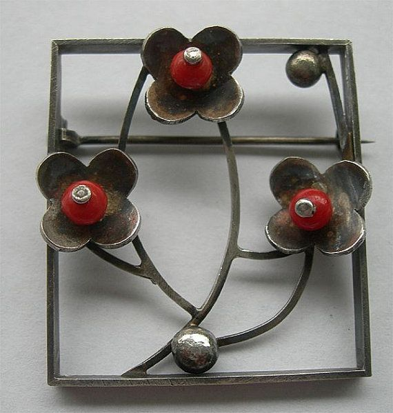 Red Coral & Sterling Silver Brooch