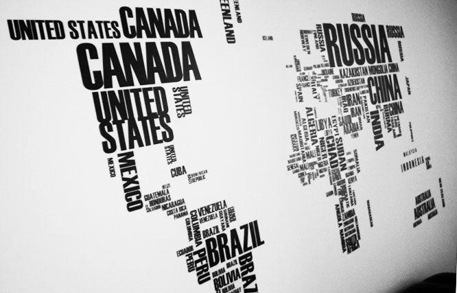 Muursticker met letters gevormde wereldkaart http://avrilee.nl/product/wereldkaart-muursticker/