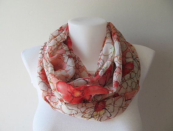 Floral Infinity Scarf Coral White Chiffon Infinity Scarf