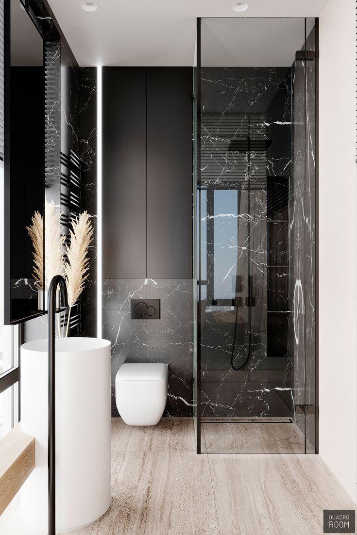 Black Marble Shower Free Standing Open Bathroom Modern Contemporary Clean Minimal Interio Bathroom Design Small Bathroom Design Luxury Bathroom Interior Design