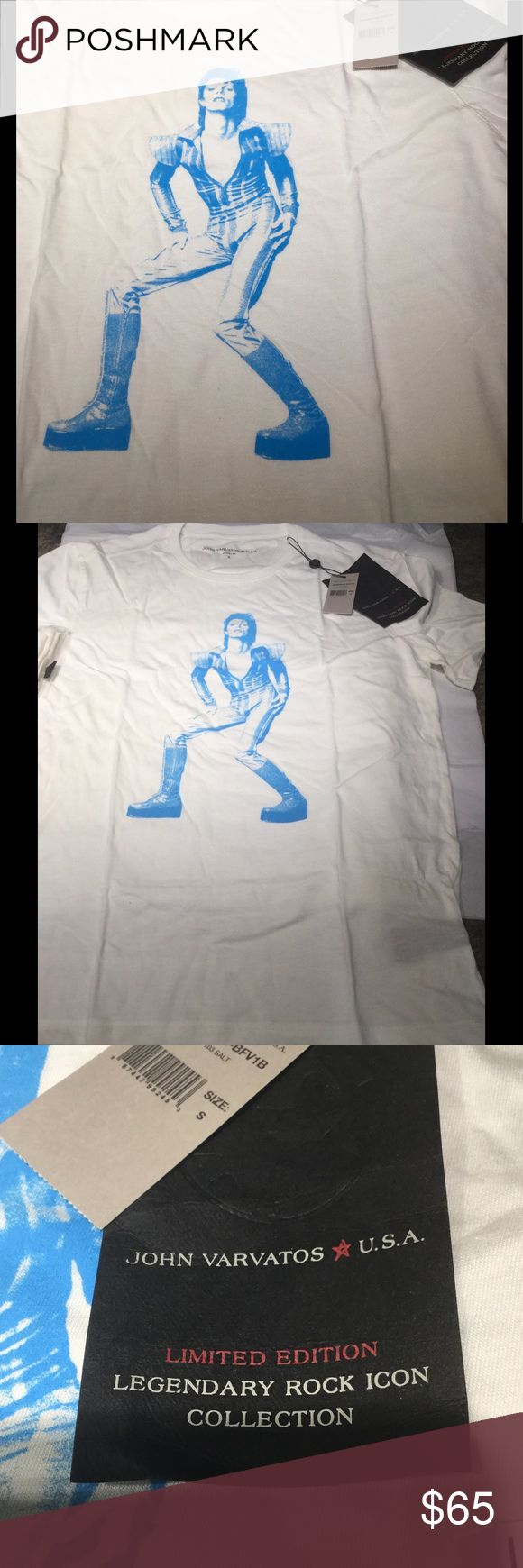 John Varvatos USA Bowie Ziggy  graphic T shirt NWT John Varvatos USA david Bowie Iggy graphic T NWT limited Rock Icon Collection. That means they pay royalties. Listen closely Posh takes out fees to the seller. No lowball or office will be accepted. if you do be prepared to be blocked for a month. John Varvatos Shirts Tees - Short Sleeve