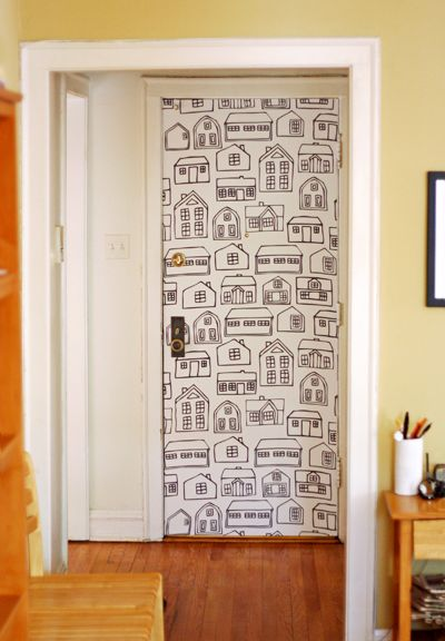 """How to """"wallpaper"""" using fabric! Not crazy about the fabric design but love the idea."""