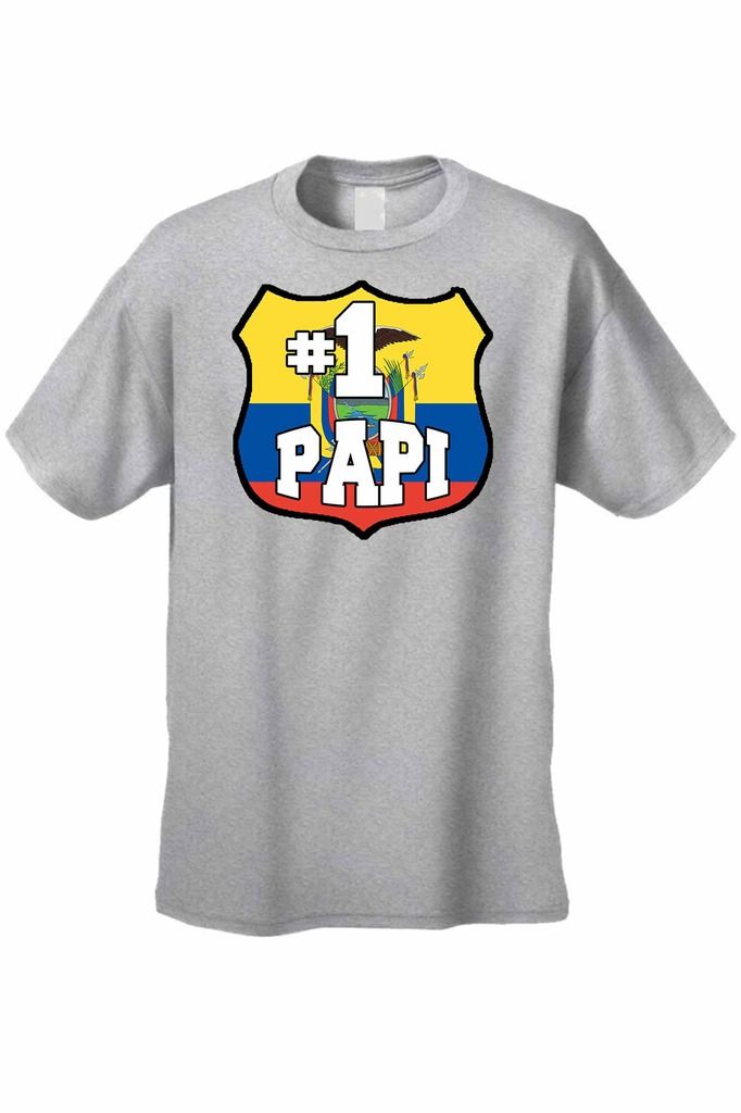 Men's T-Shirt # 1 Papi Ecuador Flag Pride Futbol Soccer Football Gym Workout Tee