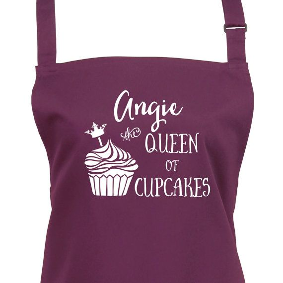 Personalised Cupcake Apron - Queen of Cup Cakes With Your Name. You Can Choose From 16 Colours, Baking Apron with Pocket, 1092