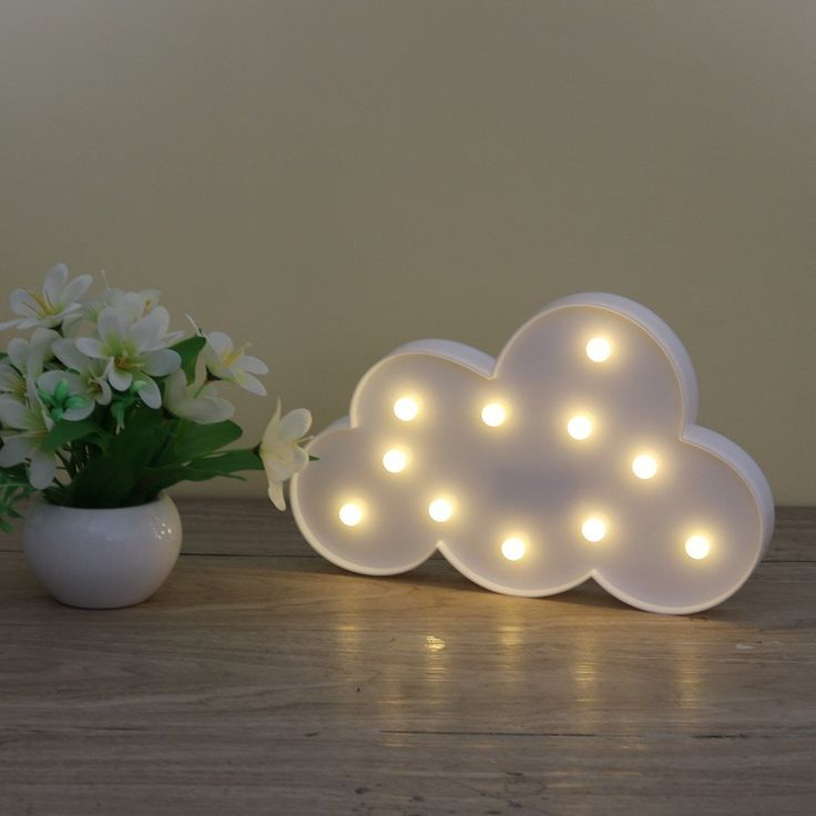 LEDMOMO New 3D Marquee Cloud Night Lamp with 11LED Battery operated White Cloud Letter light For Christmas Decoration Kid's Gift #Affiliate