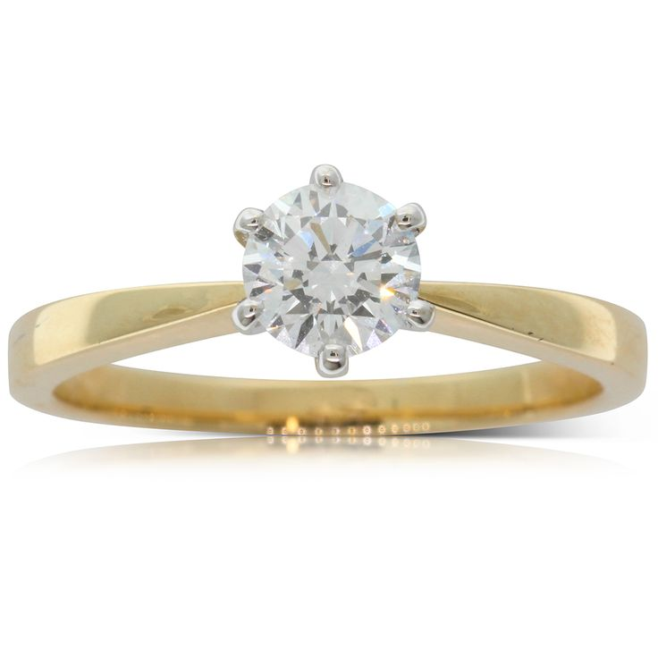 18ct yellow & 18ct white gold .59ct diamond solitaire engagement ring