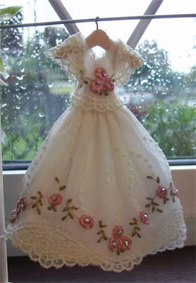SOLD : 1/12th scale embroidered lace bridesmaid dress on hanger.