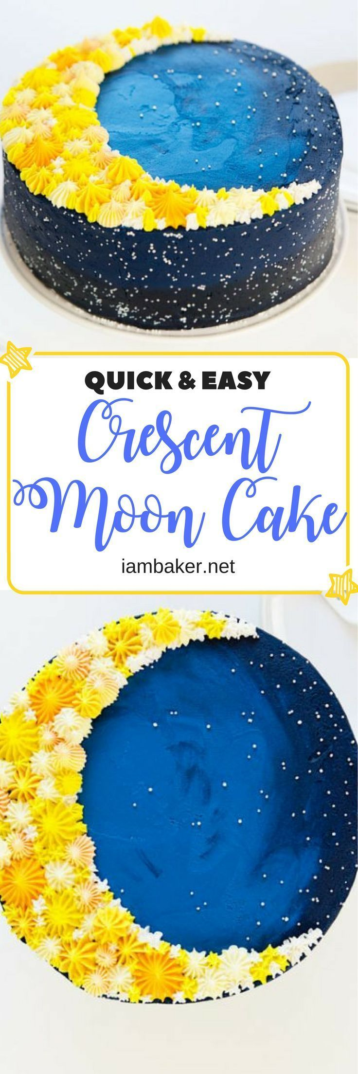 Learn how to decorate a delicious cake through this quick and easy Crescent moon cake! Your kids will surely love this! | iambaker.net | Food Recipes | Sweet Desserts #dessert