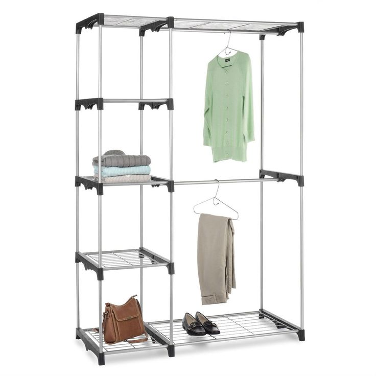 Freestanding Closet Organizer Garment Rack Storage Unit with Hanging Rods