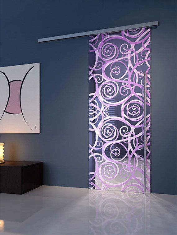 sliding purple glass door - would look nice in a master suite leading to the bathroom