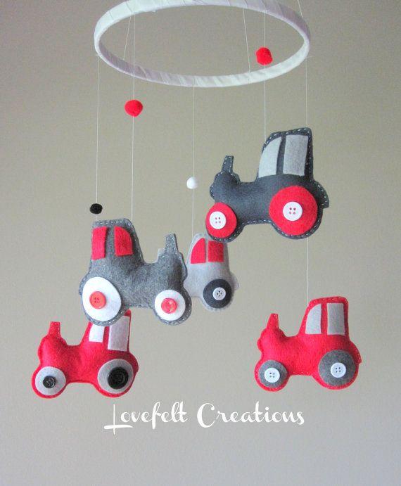baby crib mobile custom baby mobile tractor mobile. Black Bedroom Furniture Sets. Home Design Ideas