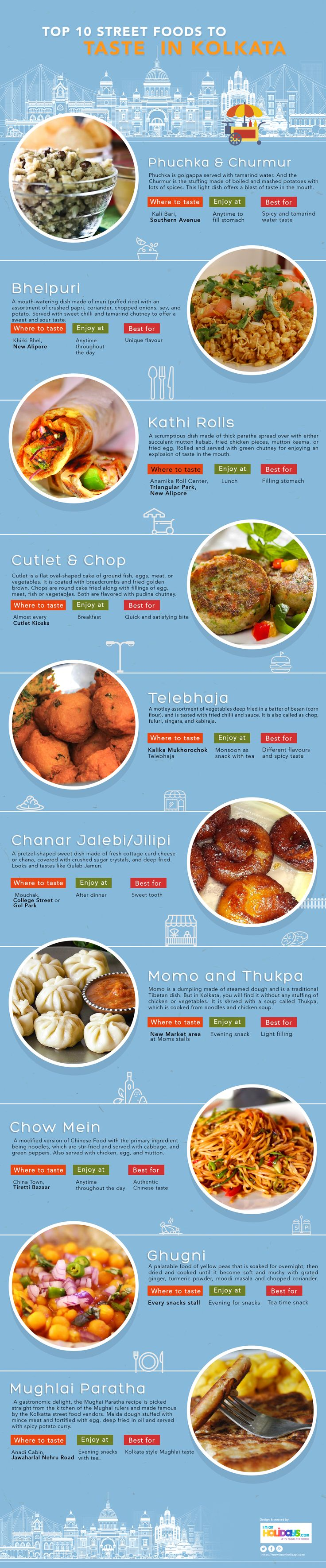 Top 10 Street Foods to Taste in Kolkata #Infographic #Food #Travel