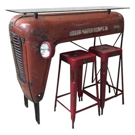 Image of Red Upcycled Vintage Tractor Bar