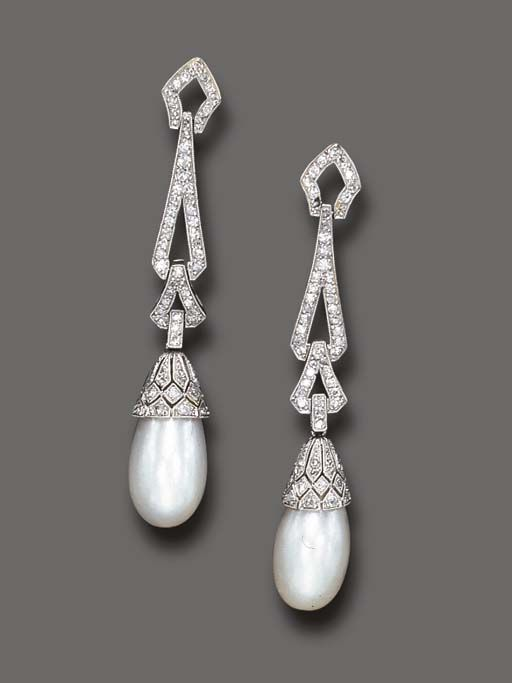AN ELEGANT PAIR OF ART DECO PEARL AND DIAMOND EAR PENDANTS   Each pearl drop, measuring approximately 13.50 x 9.60 mm, with a single and rose-cut diamond cap, suspended by a series of single-cut diamond links, mounted in platinum, circa 1925