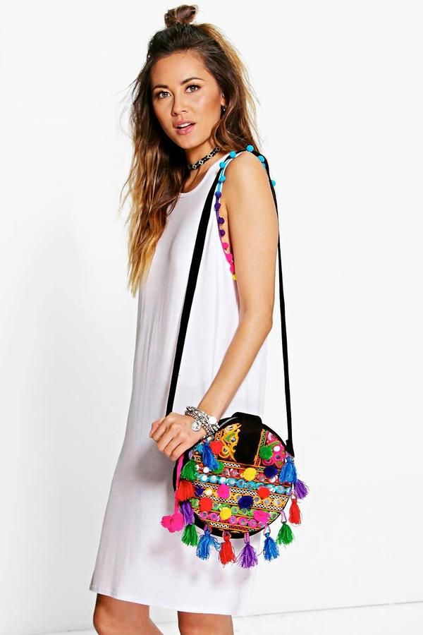 boohoo Karie Multi Coloured Pom Pom T-Shirt Dress