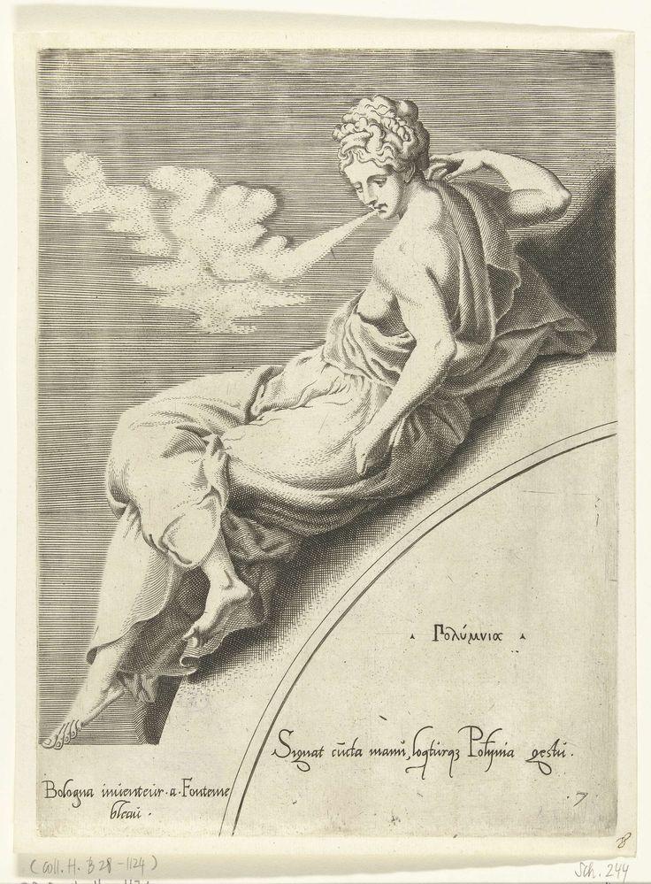 Francesco Primaticcio | Polyhymnia, Francesco Primaticcio, Léon Davent, c. 1540 - c. 1555 | De muze Polyhymnia leunend op een boog, blaast lucht uit haar mond. Haar naam in het Grieks en een verwijzing in het Latijn staan op de boog.