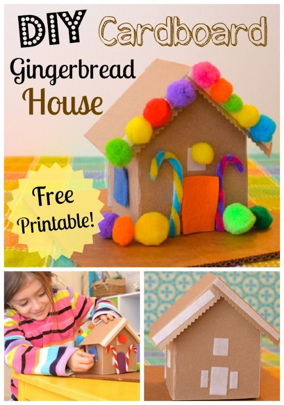 DIY Cardboard Toy Gingerbread House w/ free printable. Can be built and decorated again & again! #kids #parenting #creativePlay