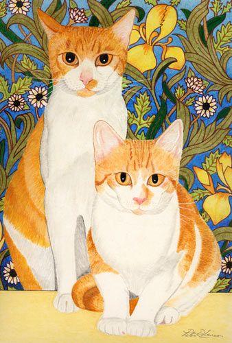 Loves ginger cats    Google Image Result for http://www.gordon-stewart.co.uk/cats/paintings/gingercats.jpg