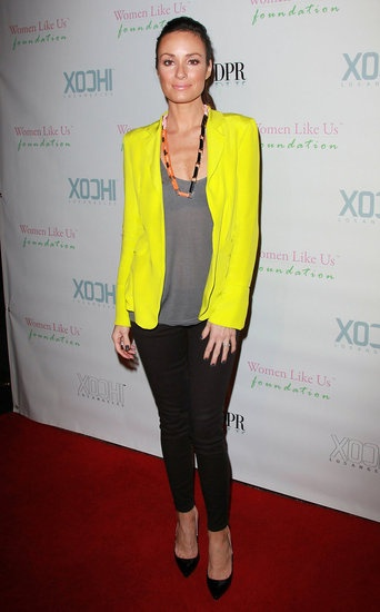 yellow blazer, grey tshirt, black trousers/jeans, black high heels