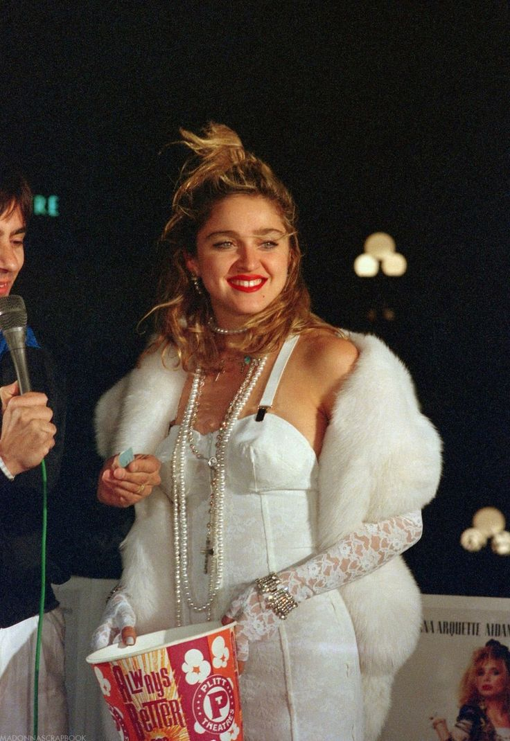 "madonnascrapbook: ""Madonna in Gaultier and fur at the premiere of her film Desperately Seeking Susan at the Plitt Century Plaza theater in Century City. Released on Blu_ray today!!! """