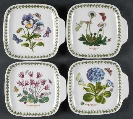 Portmeirion botanic garden set of 4 square canape dishes for Portmeirion botanic garden designs