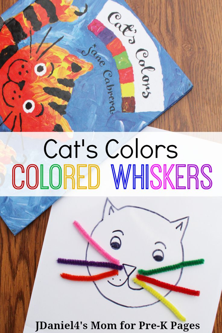 Cat's Colors: Colored Whiskers. A fun, hands-on activity to go along with the book Cat's Colors. Use sticky paper to make the Cat's Colored Whiskers. Perfect for Preschoolers at home or school.  - Pre-K Pages