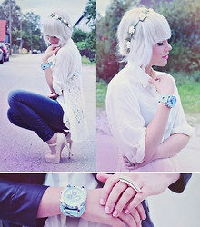 Floral Headband, Sheer Lace Blouse, Shoes, Ring, Watch