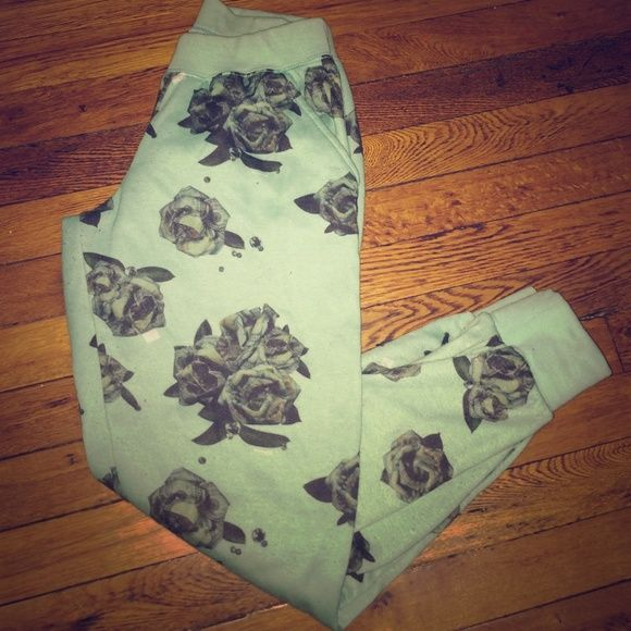Mint 'Rose money ' joggers Mint joggers . Roses all over with the money print imprinted . So cool and a very trill statement piece. Can be worn out or also lounge pants. These are lined so can be worn out in cold weather Pants Track Pants & Joggers