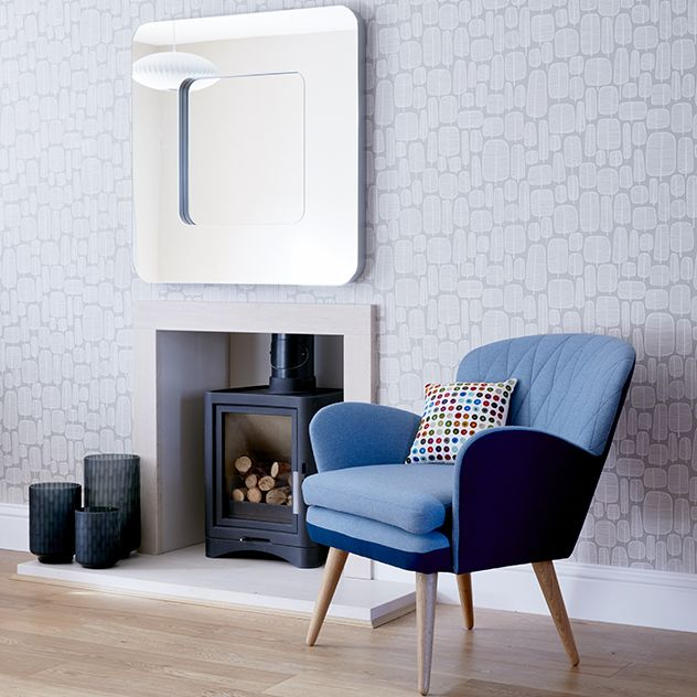 For Sale   Custom Design Modern Fabric Armchair (Pale Blue And Light Grey)