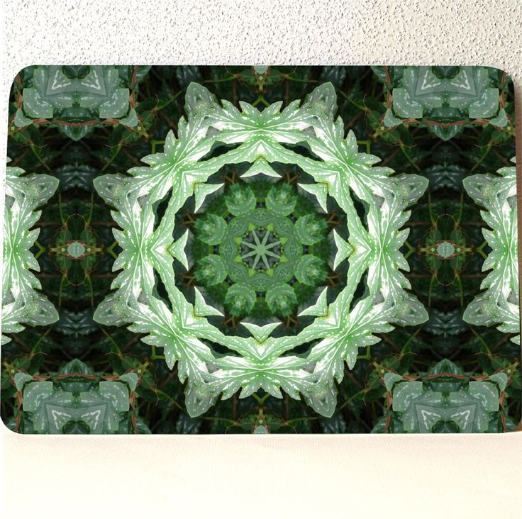 "Tempered glass cutting board, 10.75"" x 7.75"" x .188"", dishwasher safe. made in USA, Tropical Twist Kaleidoscope, color photograph by RVJamesDesigns on Etsy"