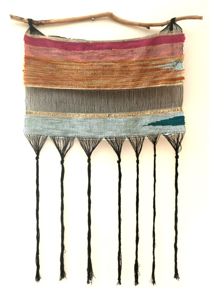 """- DESCRIPTION TEHYA SHEA~textile artist Special one of a kind weaving made for SOMEDAY Boutique THE ELEMENTS by Tehya Shea 20"""" x 32"""" aprox~wall hanging~art Wool, cotton and gold thread hanging on fora"""