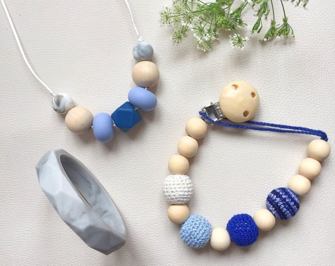 Gift set. Baby teether, Wooden silicone teether, Silicone necklace, eco friendly, breastfeeding and nursing, baby shower