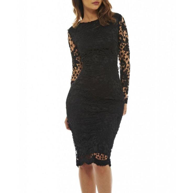 Czarna, koronkowa sukienka ołówkowa długość midi z długim rękawem