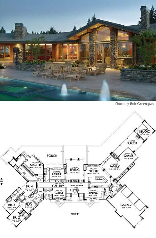 large ranch home plans | Cliff May inspired ranch house plans from Houseplans.com