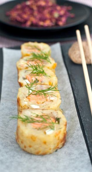 """How about some Scandinavian """"sushi""""?Potato rolls with salmon recipe from http://www.sagacook.com/en/Professionals/Pages/Potatorollswithsalmon.aspx#"""