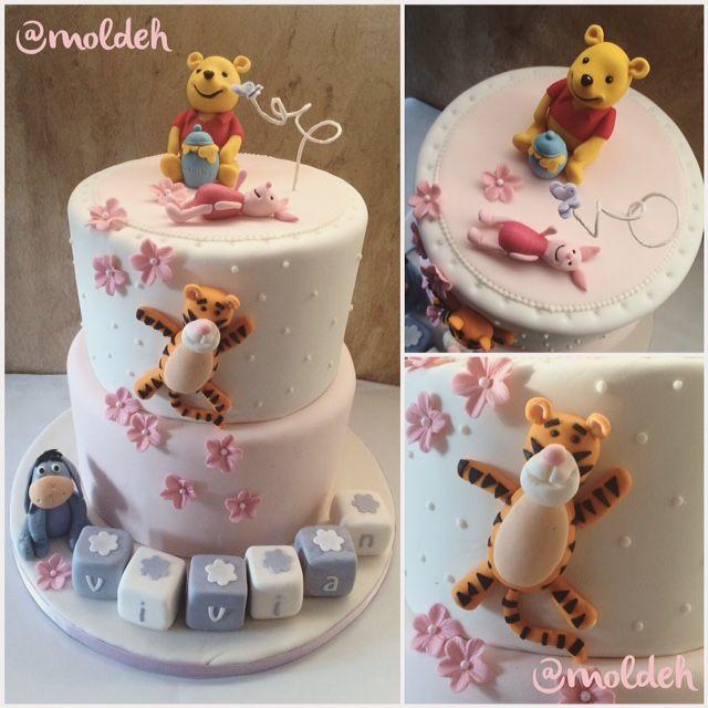 Pastel de Winnie Pooh para Bautizo de bebé niña // Babygirl baptism cake with Winnie Pooh and friends in 3D