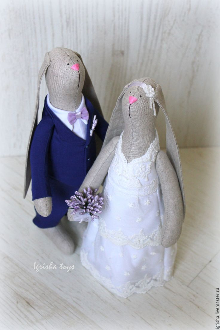 Купить Свадебные именные зайчики - свадебная пара, свадебный подарок, подарок на…
