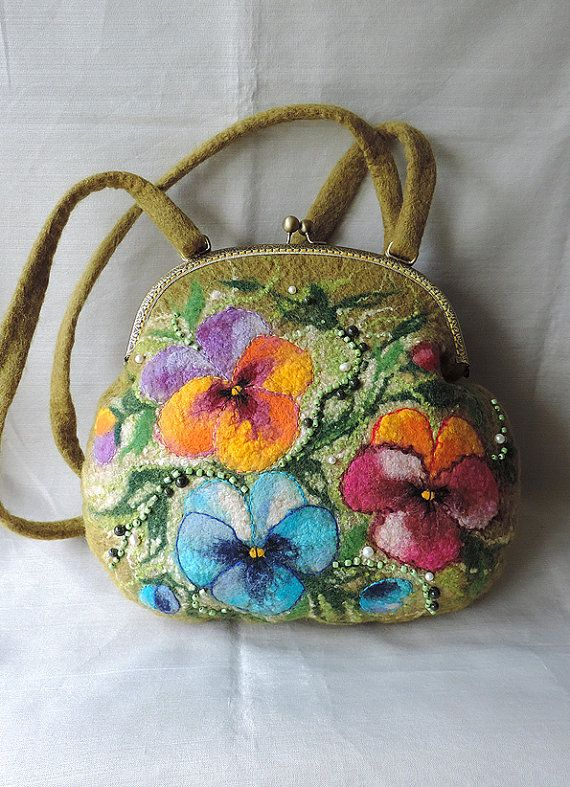 Handmade Felted Purse With Pansy Wool Purse Felted Pouch