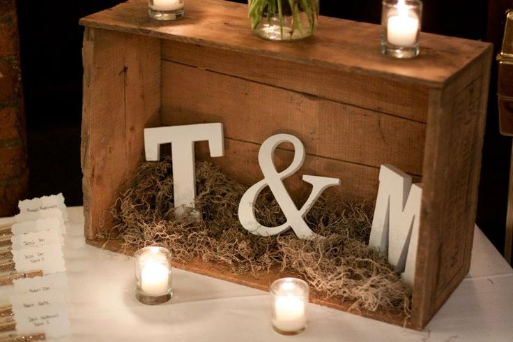 DIY rustic decor. Wooden letters from Etsy. Wood crate from flea market.