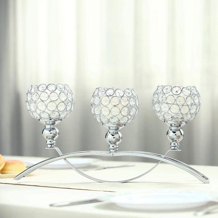 16″ | 3 Arm Silver Crystal Candle Holder | Arch Bridge Design | Goblet Candle Holders