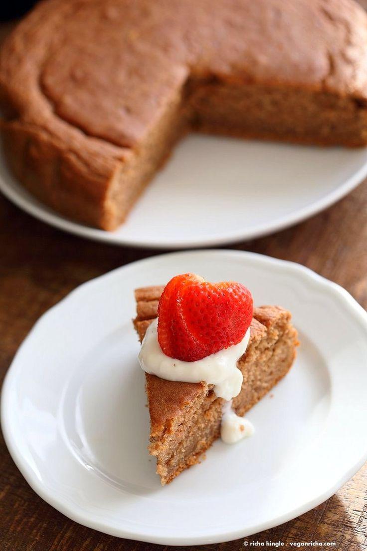 Easy One Bowl Strawberry Cake. Vegan Strawberry Cake with whipped coconut cream or strawberry beet buttercream frosting. Vegan Spring Cake Recipe | VeganRicha.com