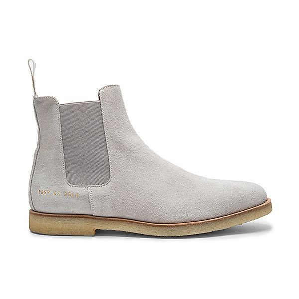 Common Projects Chelsea Suede Boots (8,630 THB) ❤ liked on Polyvore featuring men's fashion, men's shoes, men's boots, boots, mens suede shoes, mens suede boots, mens suede slip on shoes, mens rubber sole shoes and mens slipon shoes