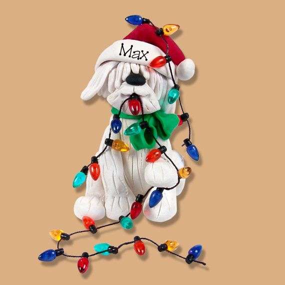 Christmas Puppy Dog with Lights Handmade Polymer Clay Personalized Christmas Ornament